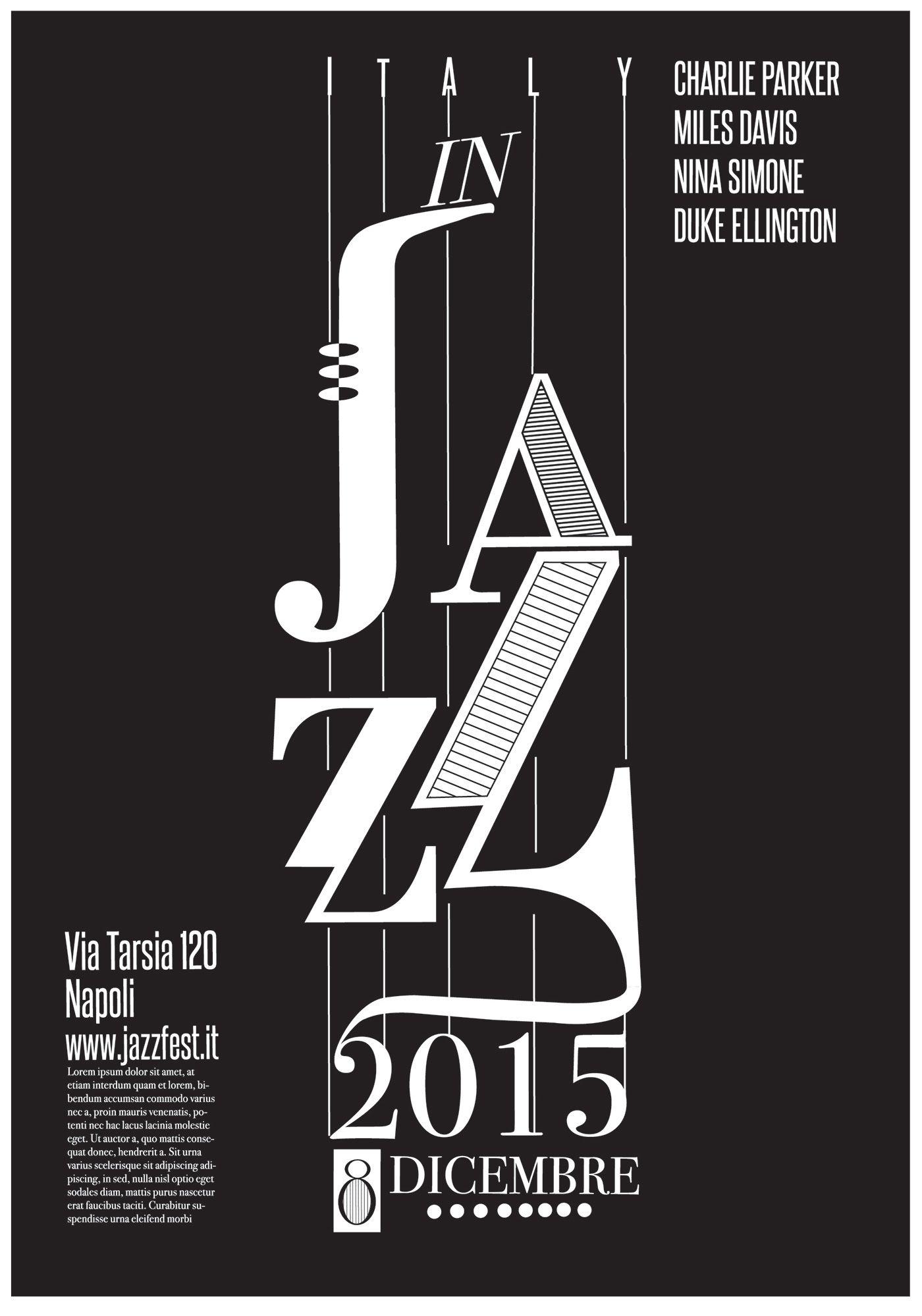 Il Poster E Stato Realizzato In Occasione Di Un Festival Relativo Alla Musica Jazz Music Poster Design Typography Poster Design Typography Poster
