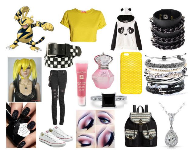 """""""#125 Electabuzz Theme"""" by kitty-styles-horan-biedka on Polyvore featuring beauty, Converse, Lancôme, Mia Bag, Domo Beads, BERRICLE, Kobelli, AndMesh and Rampage"""
