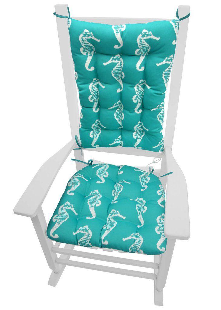 Sea Shore Seahorse Aqua Porch Rocker Cushions   Indoor / Outdoor   Latex  Foam Fill   Fade Resistant