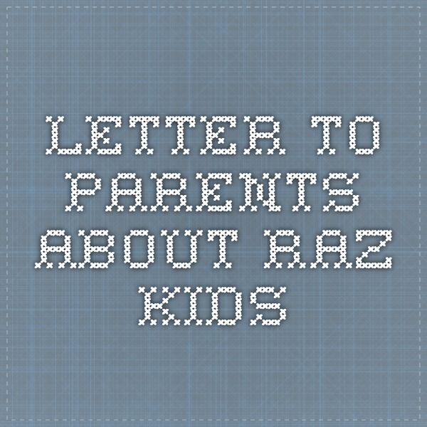 Download Raz-Kids parent letter   Raz kids, Letter to parents ...