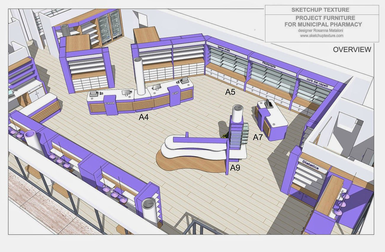 HOW TO DESIGN A MODERN PHARMACY & 3D SKETCHUP MODEL