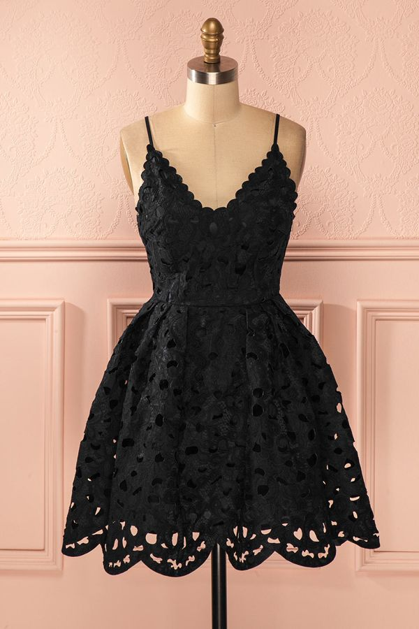A-line Homecoming Dresses,Lace Homecoming Dresses,Spaghetti Straps Homecoming Dresses,Short Prom Dresses,Party Dresses,Little Black Dresses