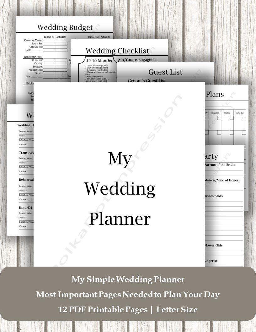 Neat & Simple Wedding Planner, Printable Wedding Planner