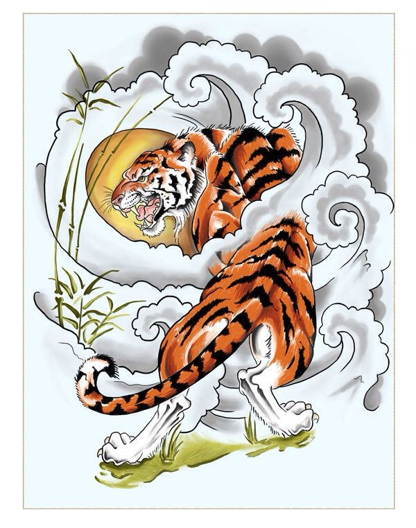 Tiger In Clouds Japanese Tiger Tattoo Tiger Tattoo Tiger Tattoo Design