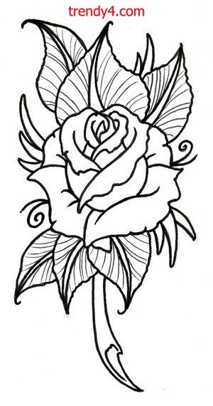 Free Rose Tattoo Designs 2014 Free Rose Tattoo Designs 2014 Rose Outline Neo Traditional Roses Flower Drawing