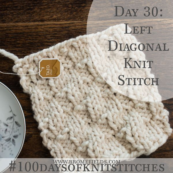 How to Knit the Left Diagonal Knit Stitch +video | Knitting , How ...
