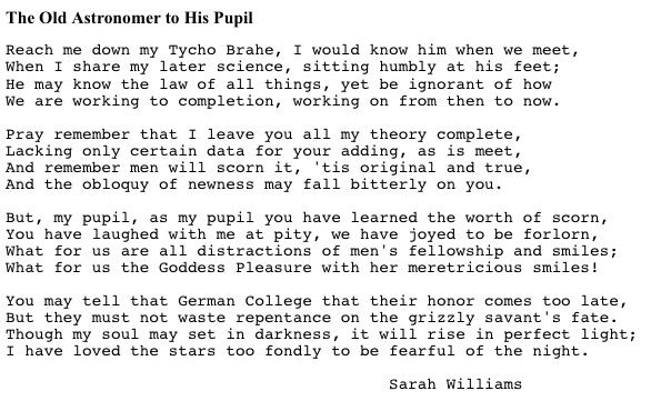 the old astronomer by sarah williams