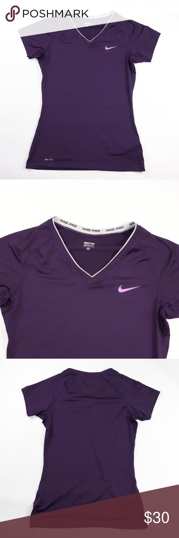 2d37ec22033 Nike Pro Dri Fit SS V Neck Running Training Shirt Women's NIKE Pro Dri Fit  Short