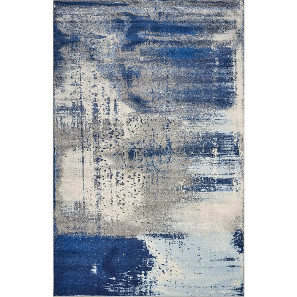 Kas Rugs Watercolors Ice Blue Flow 3 Ft X 5 Ft Area Rug