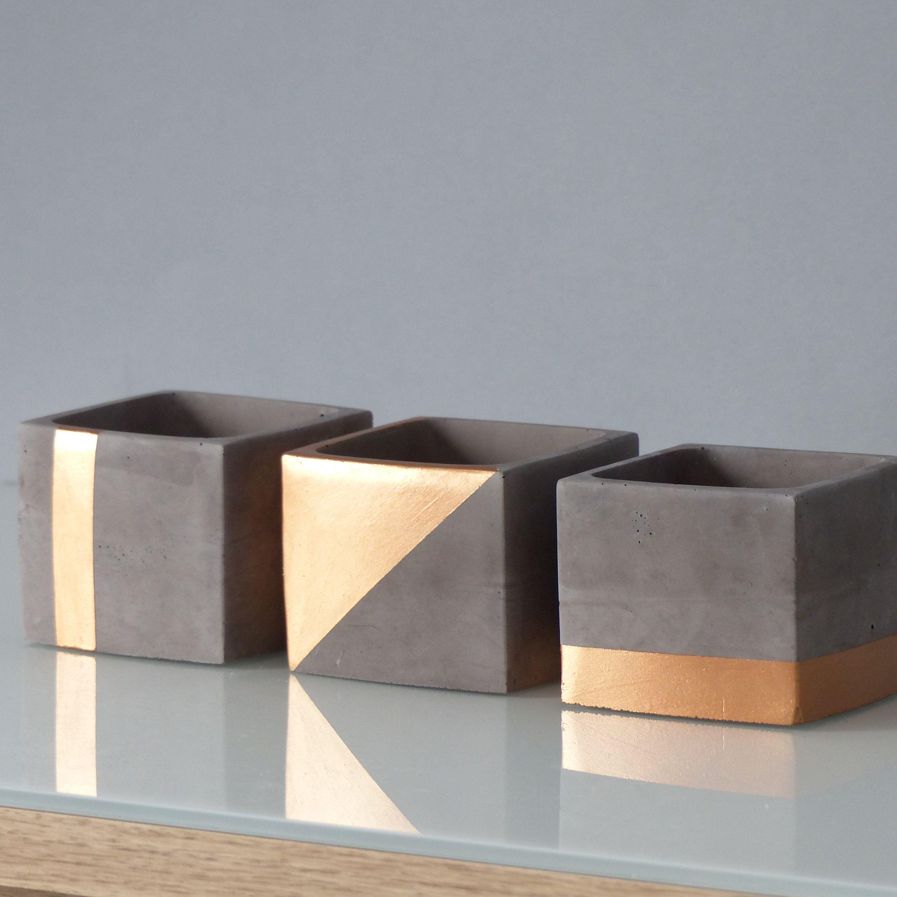 Atelier Ideco Trio Of Copper Concrete Planters With Drainage Holes Concrete Diy Concrete Crafts Concrete Planters