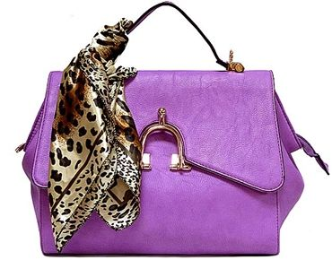 Designer Style Small Lilac Handbag With Horse Shoe Buckle And Detachable Scarf A Shu