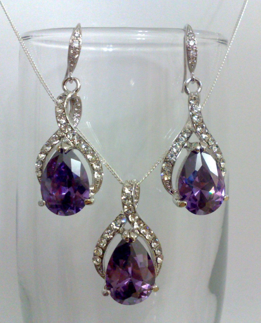 Purple Amethyst Silver Bridal Earrings