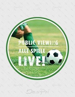 10x Fussball Public Viewing Ablösbare Aufkleber Rund Uv