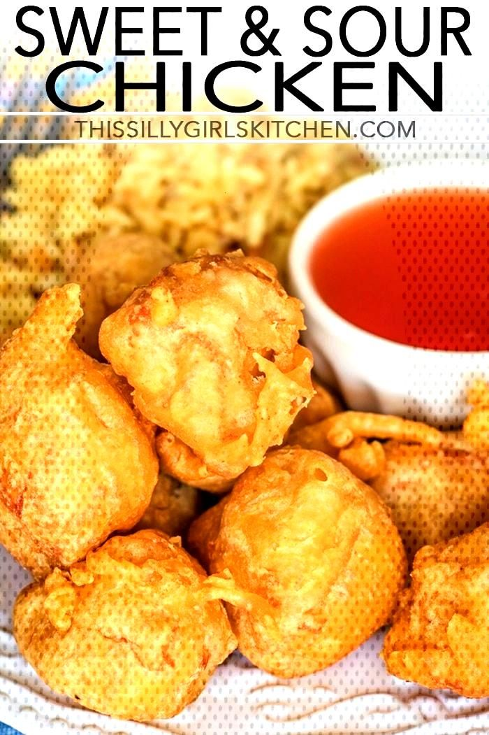 Sweet and Sour Chicken, diced chicken dipped in a light batter and fried to crispy deliciousness! f