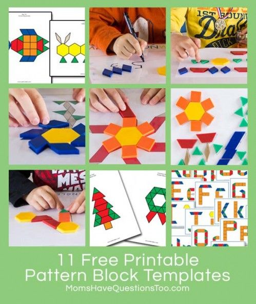 Free Printable Pattern Block Templates from Moms Have Questions - pattern block template