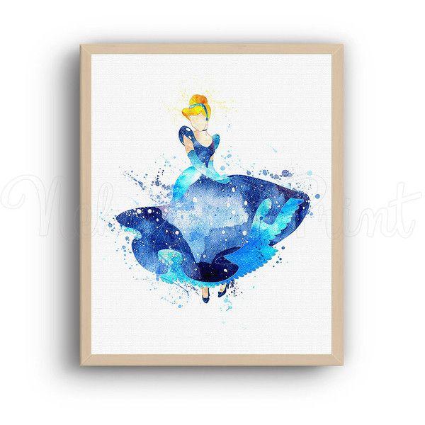 Disney Cinderella Print Disney Print Disney Art Cinderella Princess... ($3.50) ❤ liked on Polyvore featuring home, children's room and children's decor