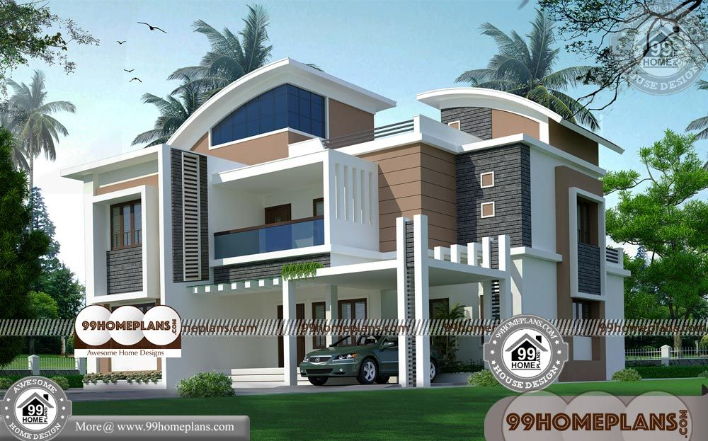 House Plan And Elevation Indian Style With Two Storey Modern House Plans Having 2 Floor 5 Total Bedroom 2 House Front Design Modern House Plans House Design