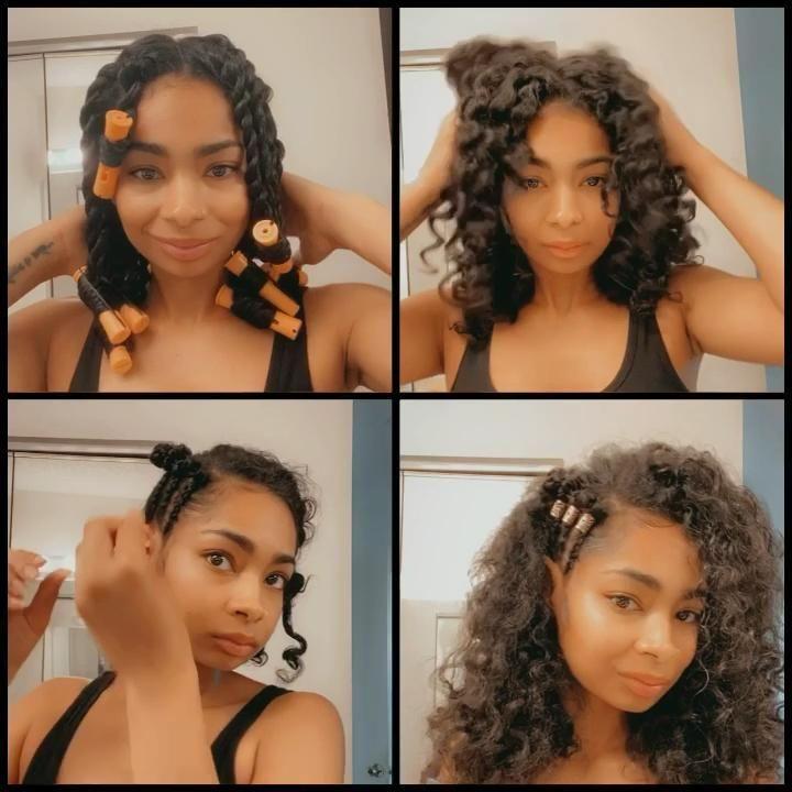 Fun hair tutorial for 3b Hair using Shea hair butter and Aloe Curl Jelly from K.Renee Naturals. #hairvideos #hairtutorials #blackhairstyles #twistout #3bhair #blackhair