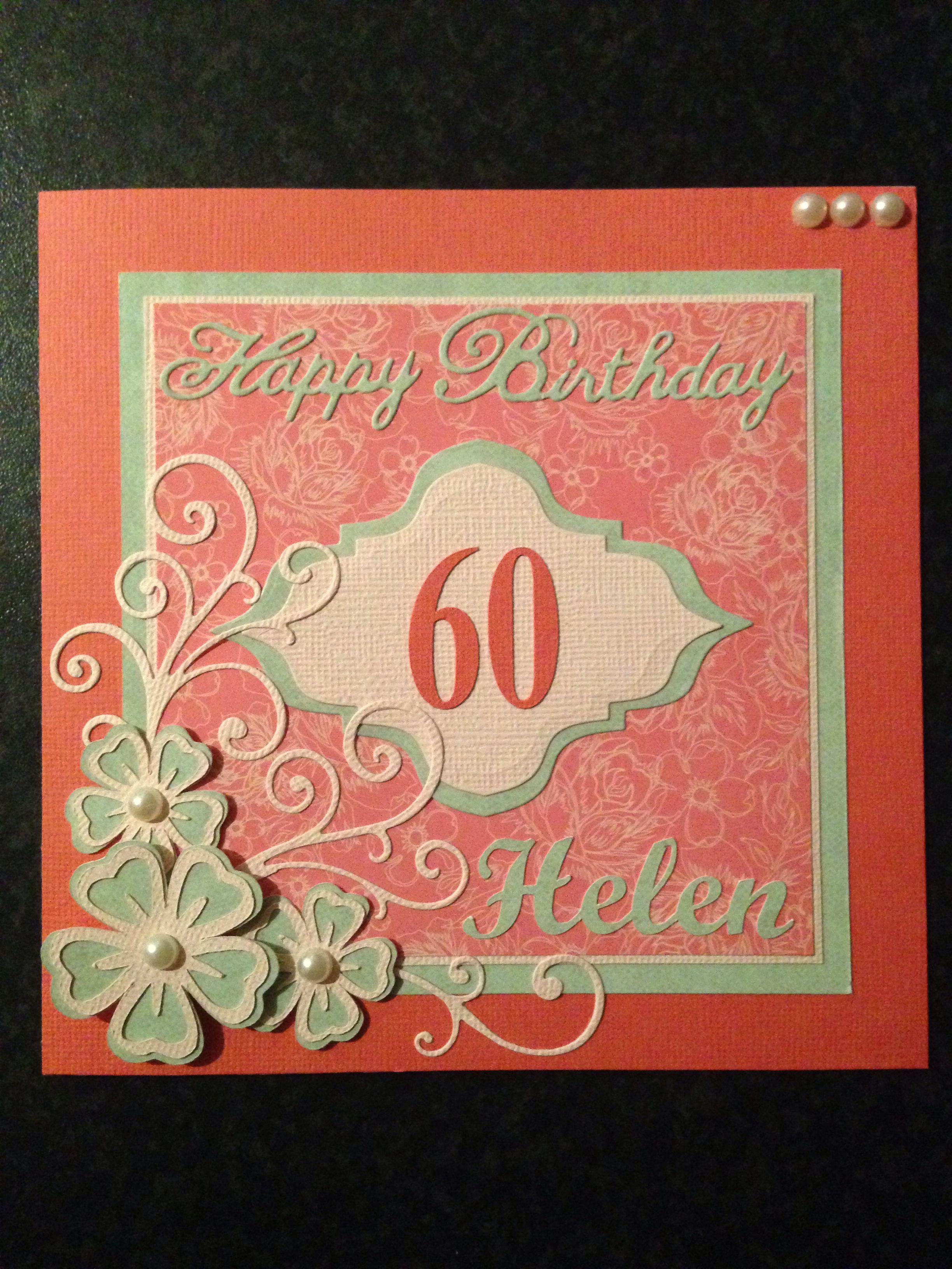 Female 60th Birthday Card 60th Birthday Cards Birthday Cards Handmade Card Making