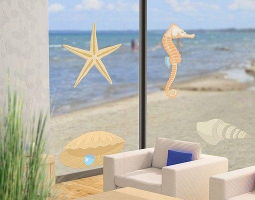 Fensterfolie - Fenstersticker NoRY28 Muschelmix - #Fensterbilder - glasbilder für badezimmer