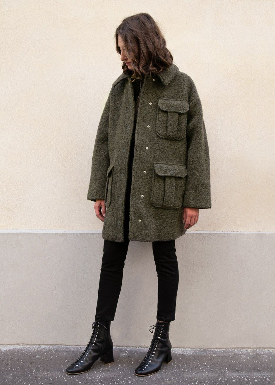 Boucle Wool Jacket In Kalamata By Ganni The Frankie Shop Wool Jacket Fall Winter Outfits Winter Attire
