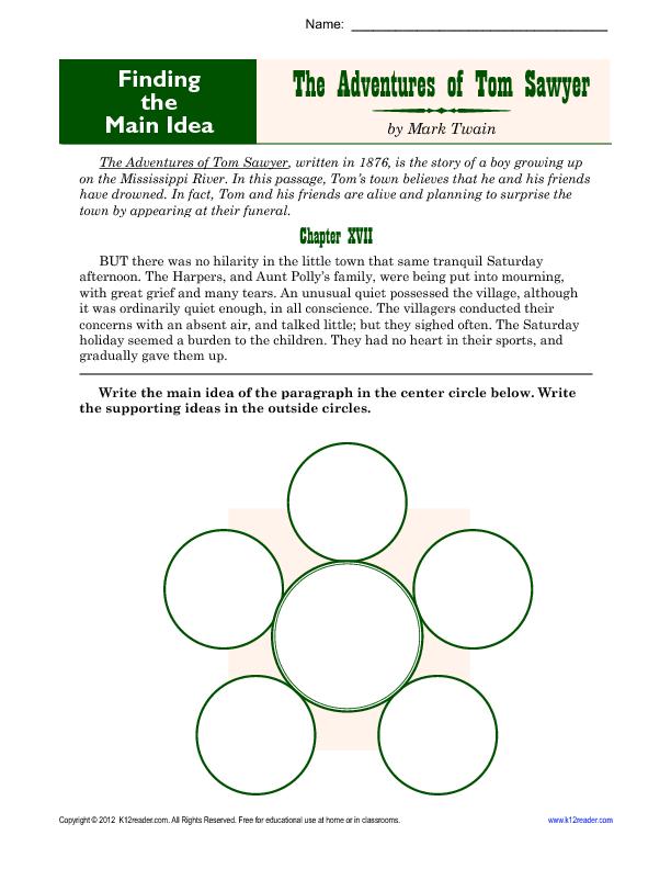 Middle School Main Idea Worksheet About Tom Sawyer Sixth Grade