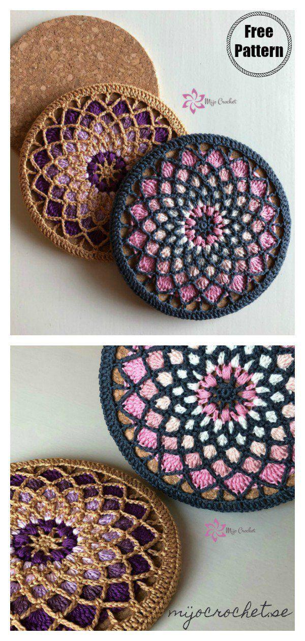 Mandala Style Trivet Potholder Free Crochet Pattern #crochetmandalapattern