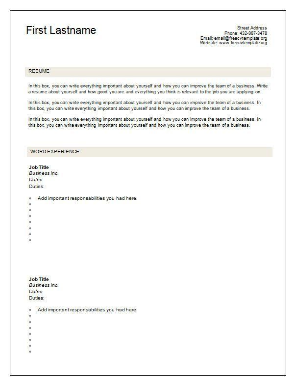 Resume Format Blank Blank Format Resume Resumeformat Cv Resume Template Resume Templates Cv Template Free
