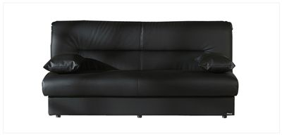 Regata Armless Convertible Sofa Bed Click Clack By Istikbal In Escudo Black Faux Leather