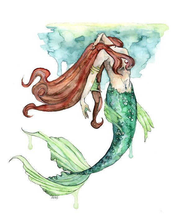 image result for watercolor mermaid tail tattoos
