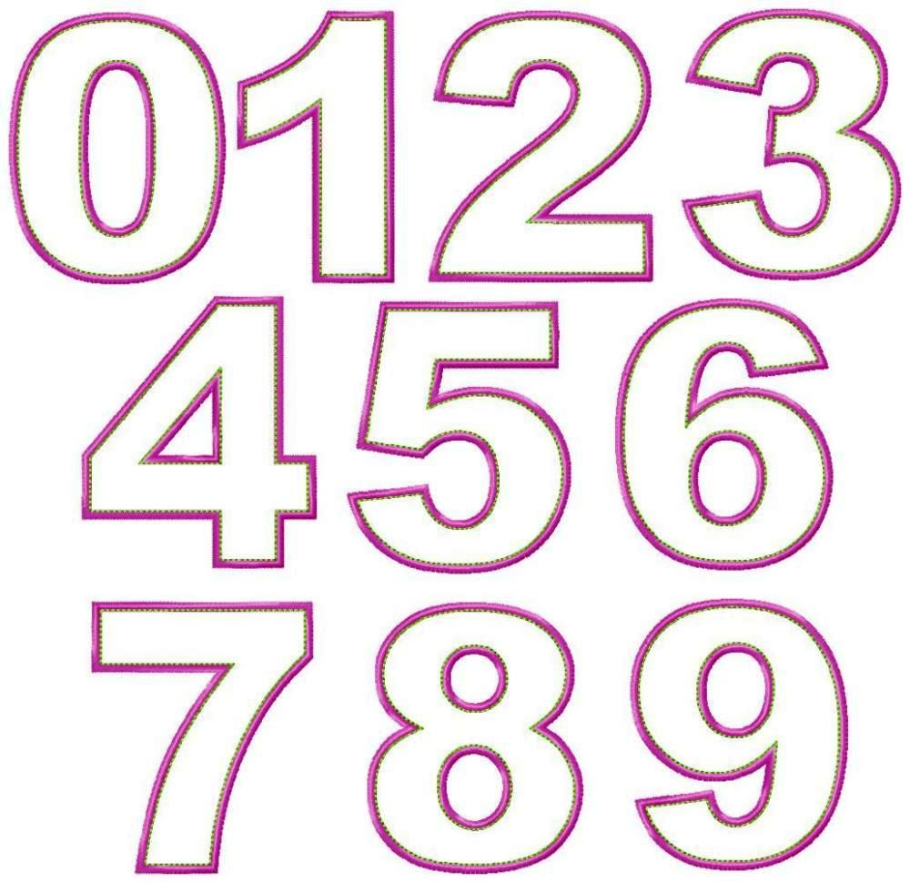 Numbers just machine embroidery applique design