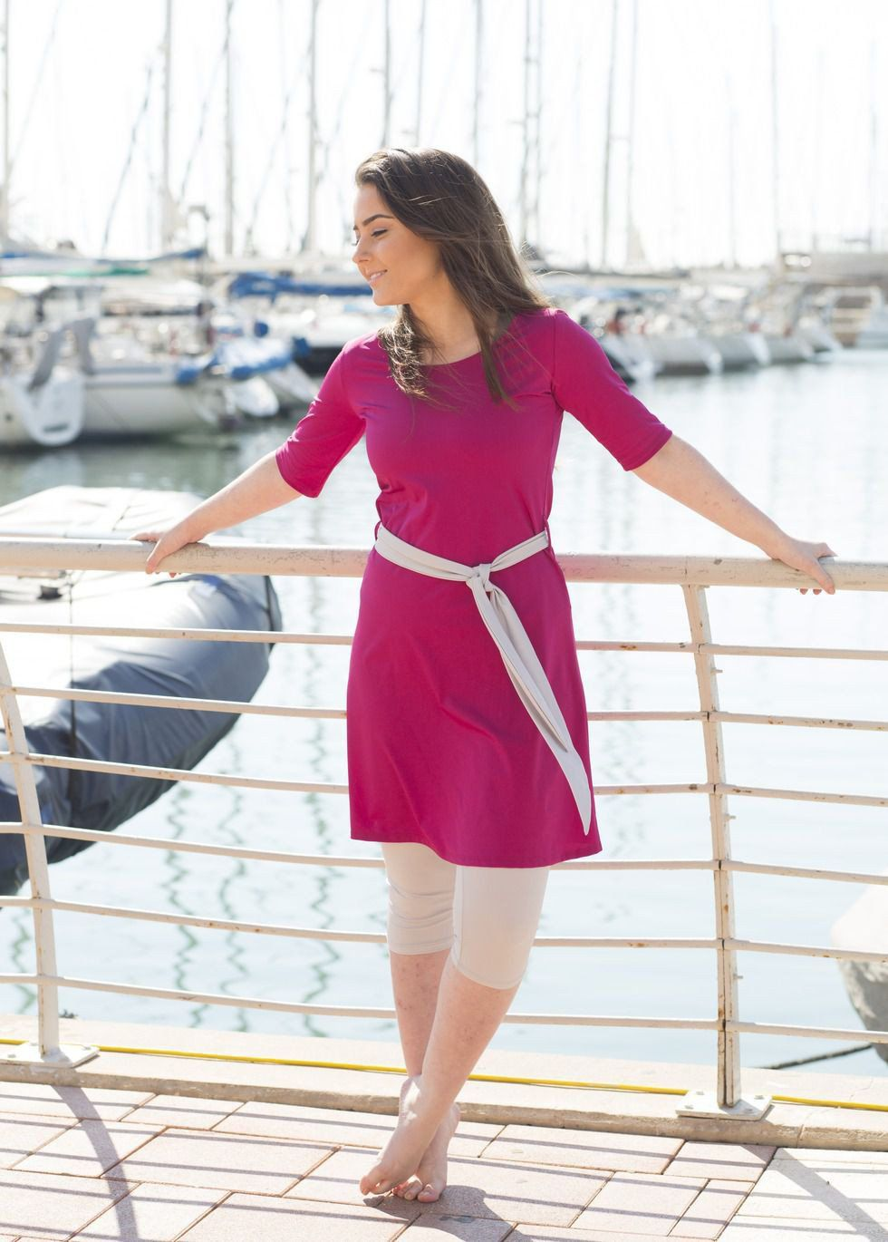 Bright and fun, modest swim tunic with matching leggings ...