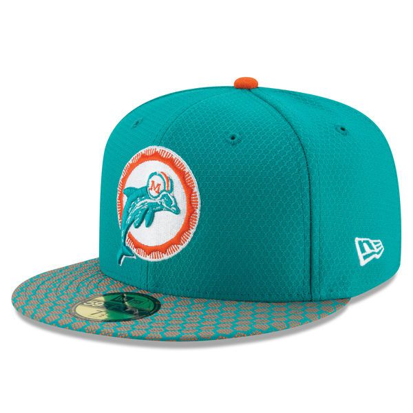 a7ad52d3c85 Miami Dolphins New Era 2017 Sideline Historic 59FIFTY Fitted Hat - Aqua -   39.99