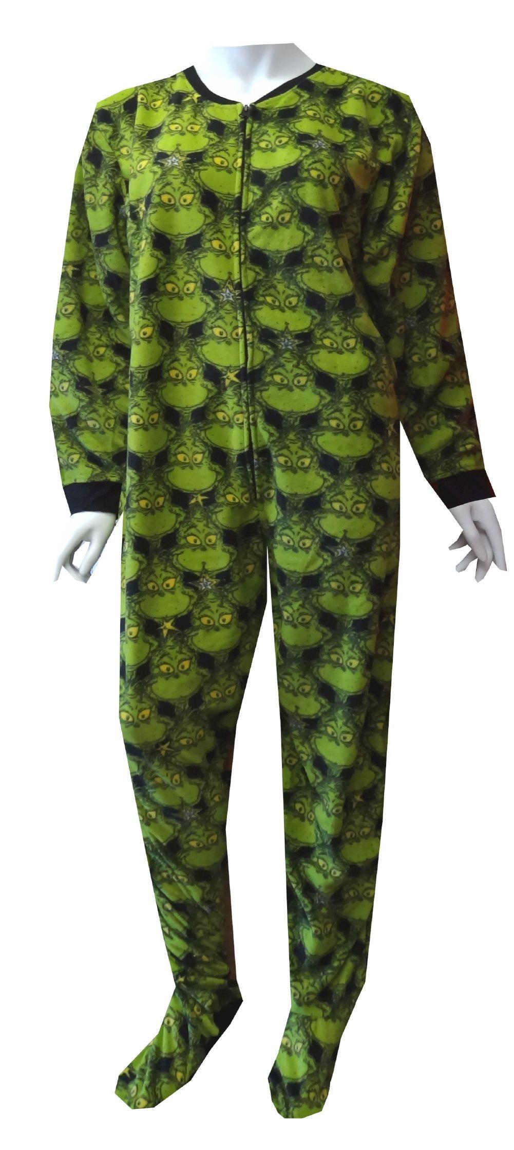 2d85870e0fed Dr Seuss Wicked Grinch Onesie Footie Pajama Looks like he has a ...