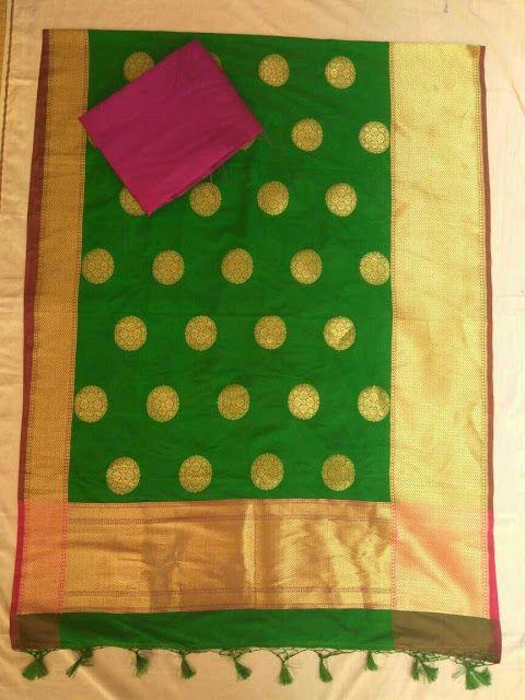 Designer Banaras Dhuppta With Raw Silk Top | Buy Online Banara Dhupptas | Elegant Fashion Wear