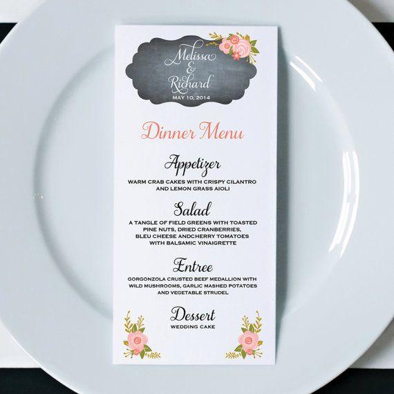 Floral Wedding Dinner Menus