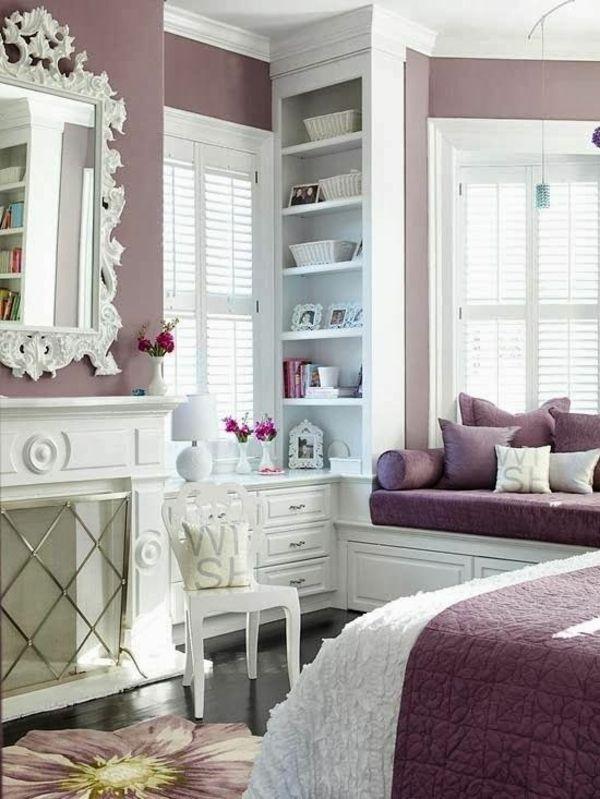 schlafzimmer luxuriös gestalten schöne wandfarben einbauregal bett