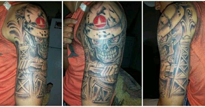 Tattooed buddies drilling