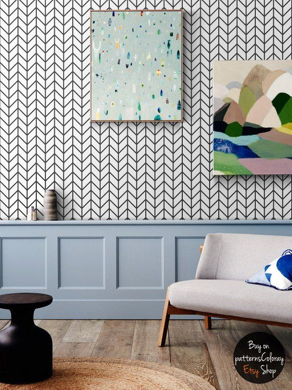 Geometric herringbone pattern removable wallpaper, simple decor, scandinavian style home design #64