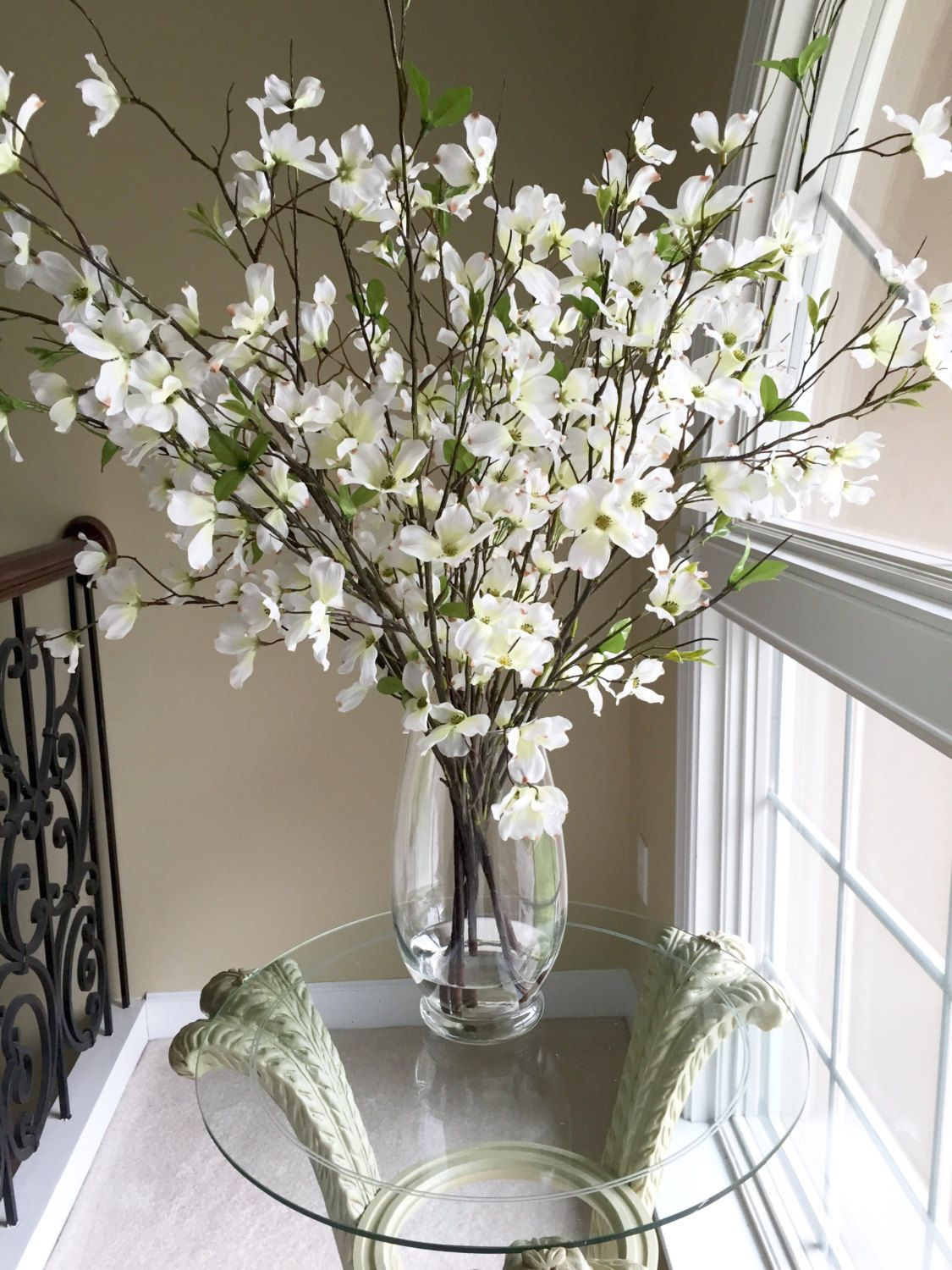 Beautiful Dogwood Branches In Large Glass Vase Large Glass Vase