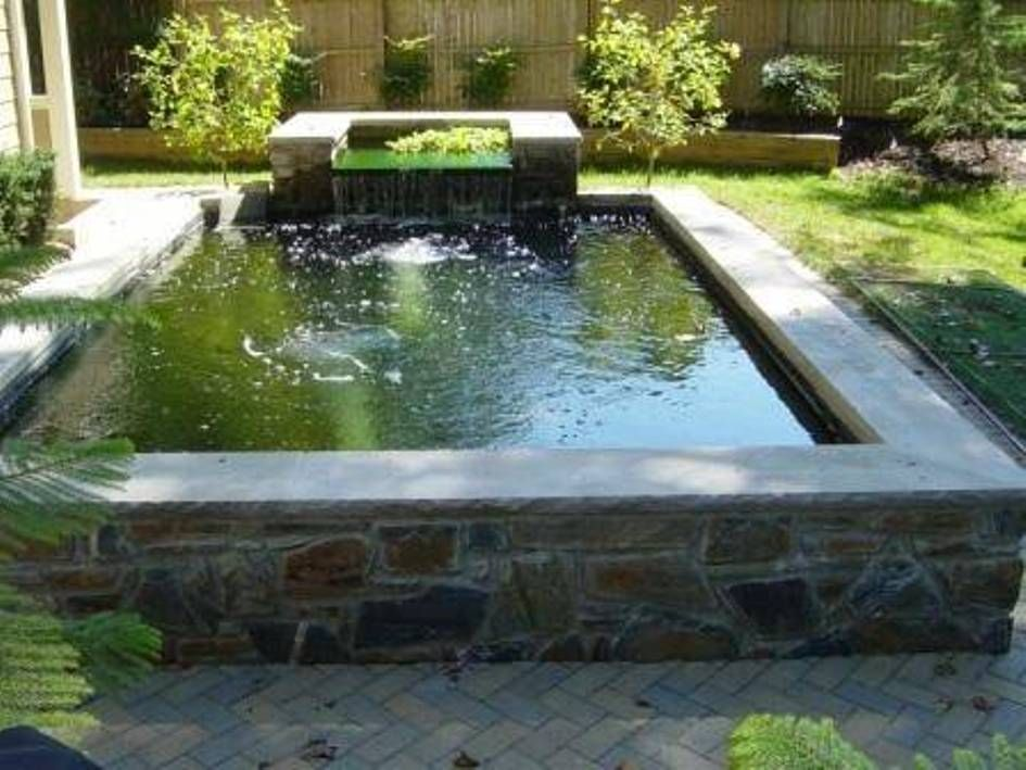 Landscaping and outdoor building raised ponds square for Tiered pond waterfall