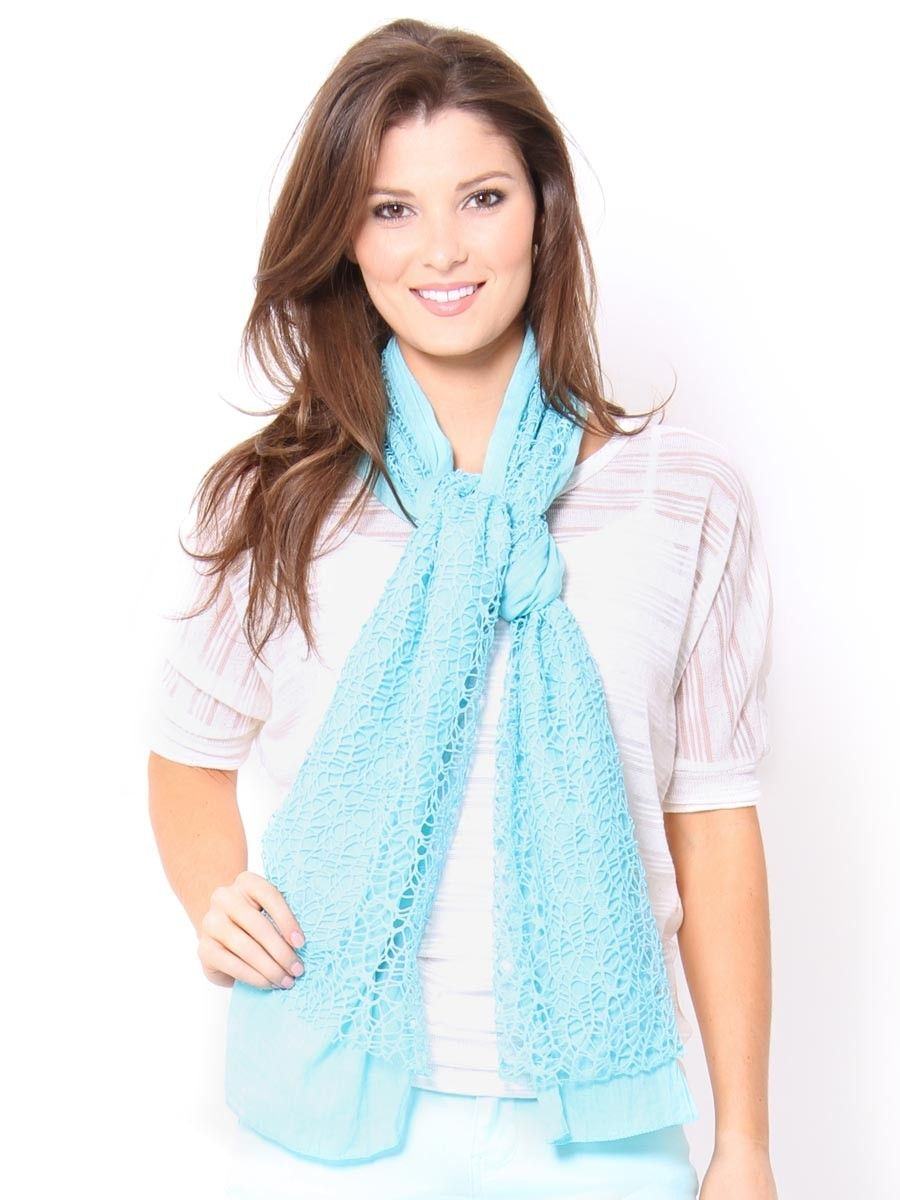 Crochet Overlay Mixed Scarf - Scarves - Accessories - Accessories #STYLESFORLESS