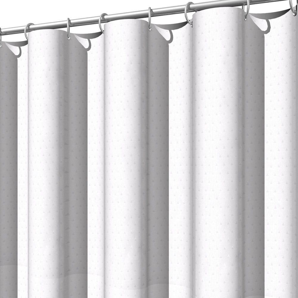 Linen Chest Hotel Dobby Fabric Shower Curtain Collection White