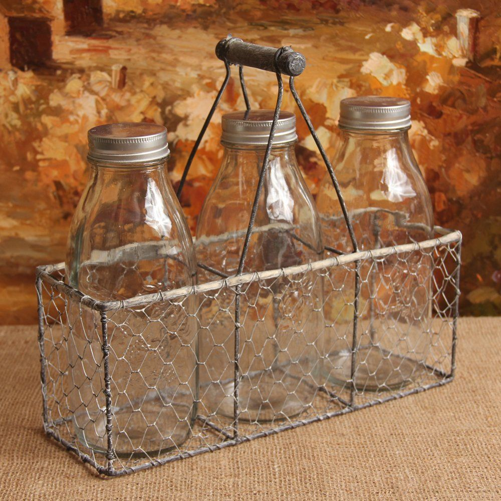 Amazon Com Antique Style Wire Basket With Milk Bottles Home