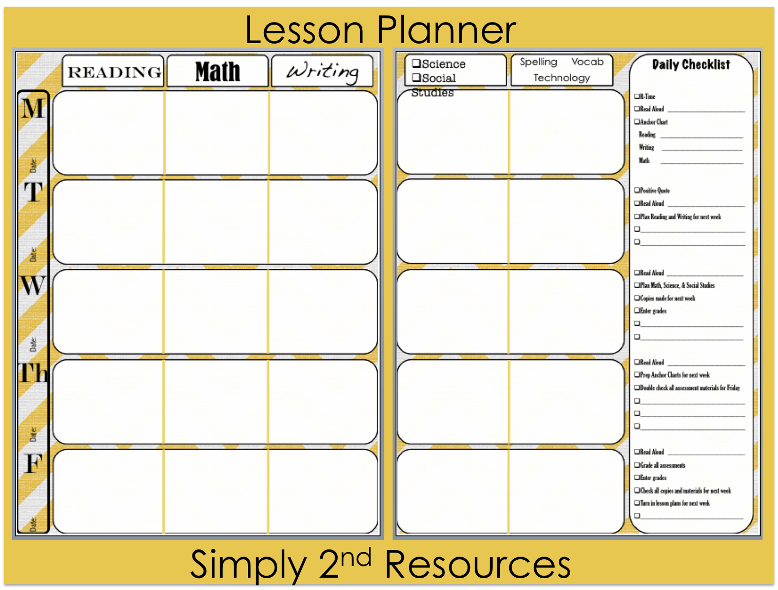 Simply 2nd Resources: Lesson Plan Template ~ So Excited to Share ...