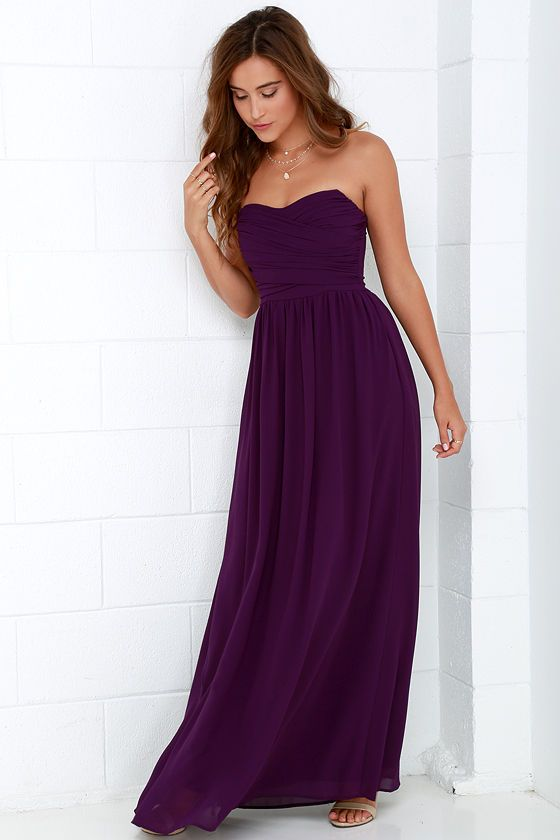 2a6c175acfc Royal Engagement Strapless Purple Maxi Dress at Lulus.com!
