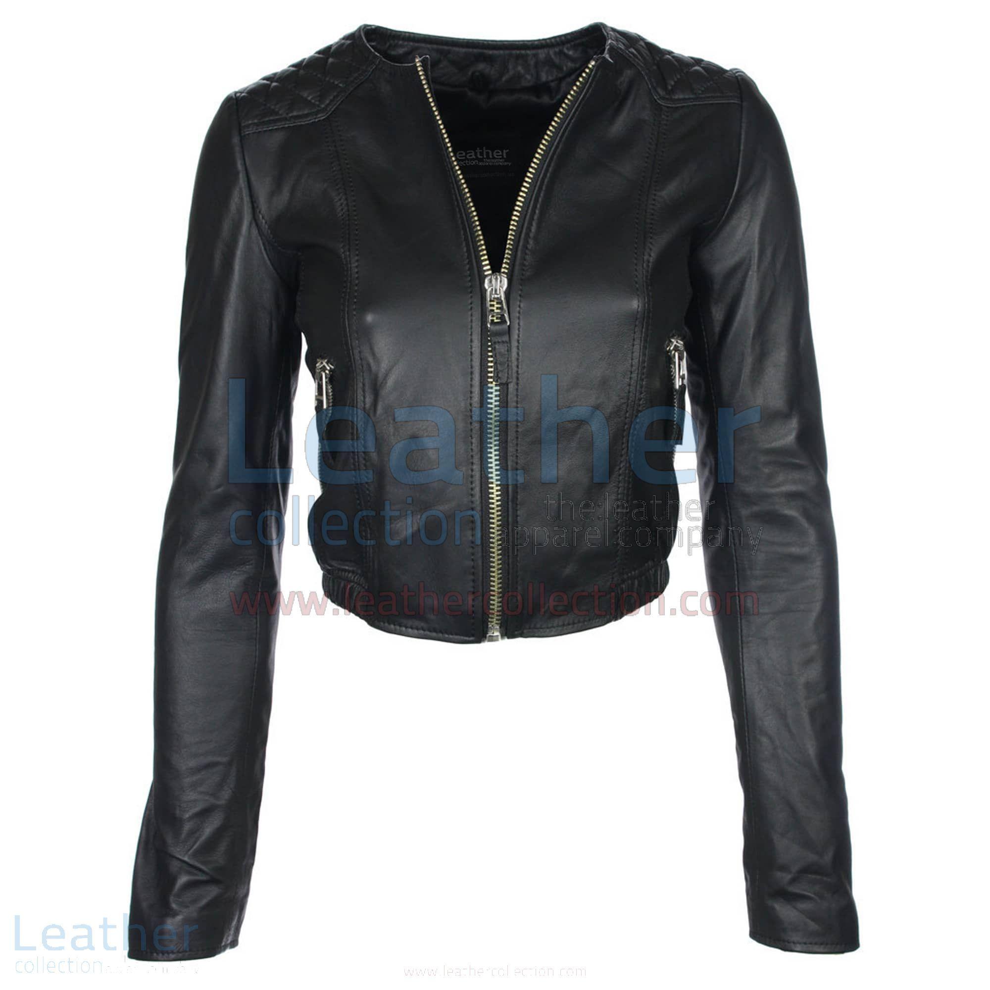 Collarless Leather Jacket Collarless Leather Jacket Womens Leather Biker Jacket Leather Jackets Women [ 2000 x 2000 Pixel ]