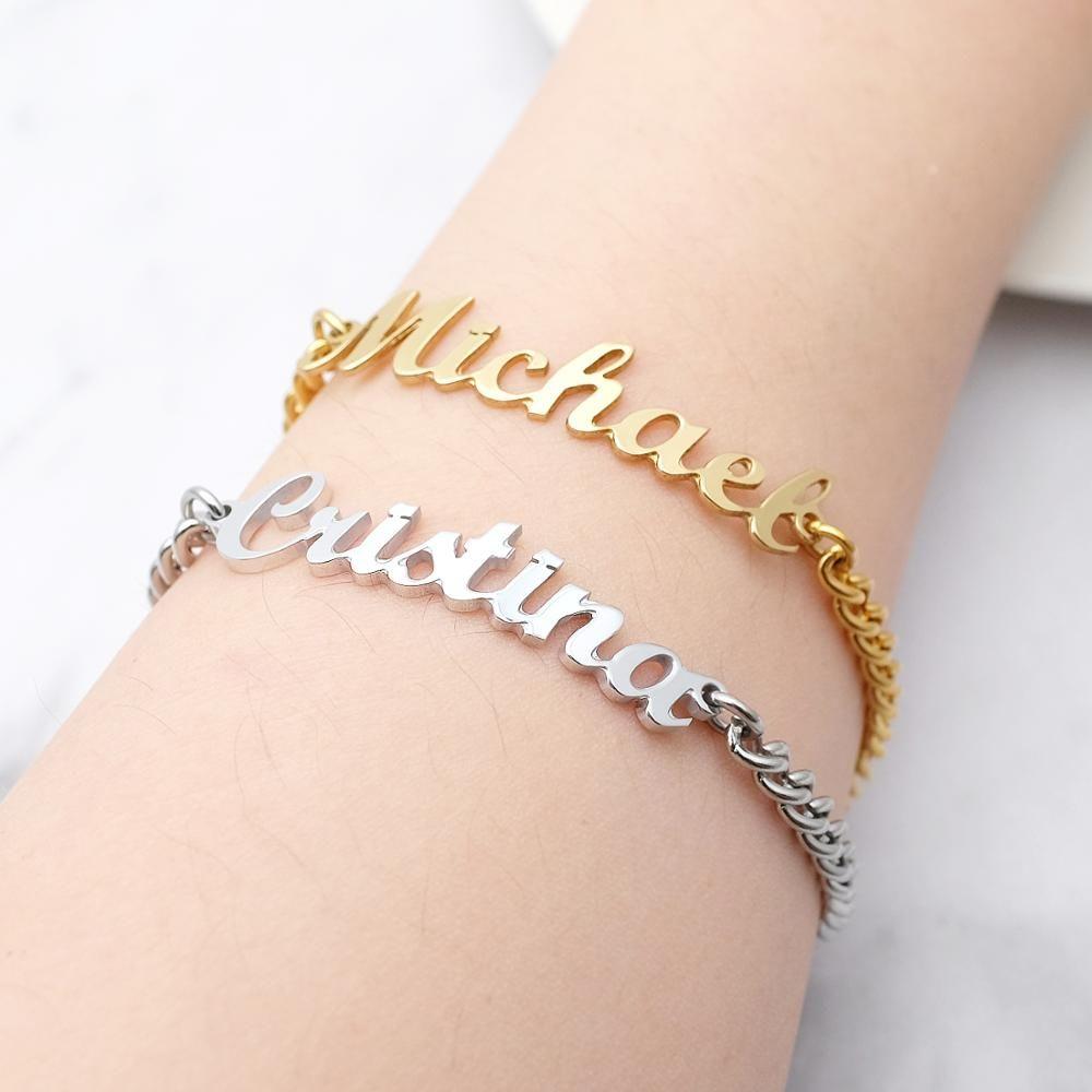 14K Gold Initial Bracelet Gold Letter Bracelet Couples Bracelet Initial Bracelet Personalized Gift 14K Name Bracelet Mother/'s Day Gift