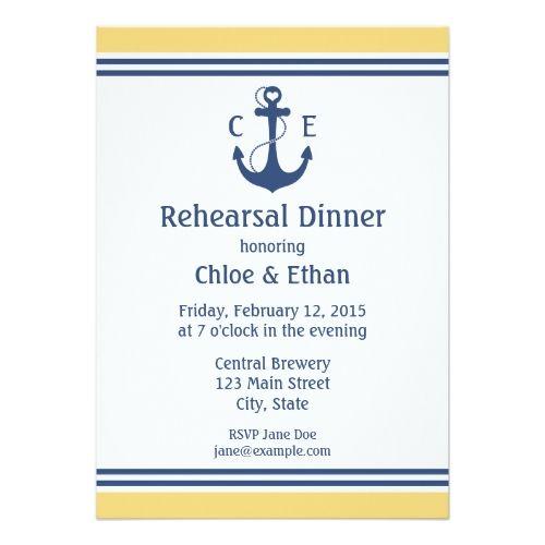 Blue Wedding Rehearsal Dinner Invitations Nautical Rehearsal