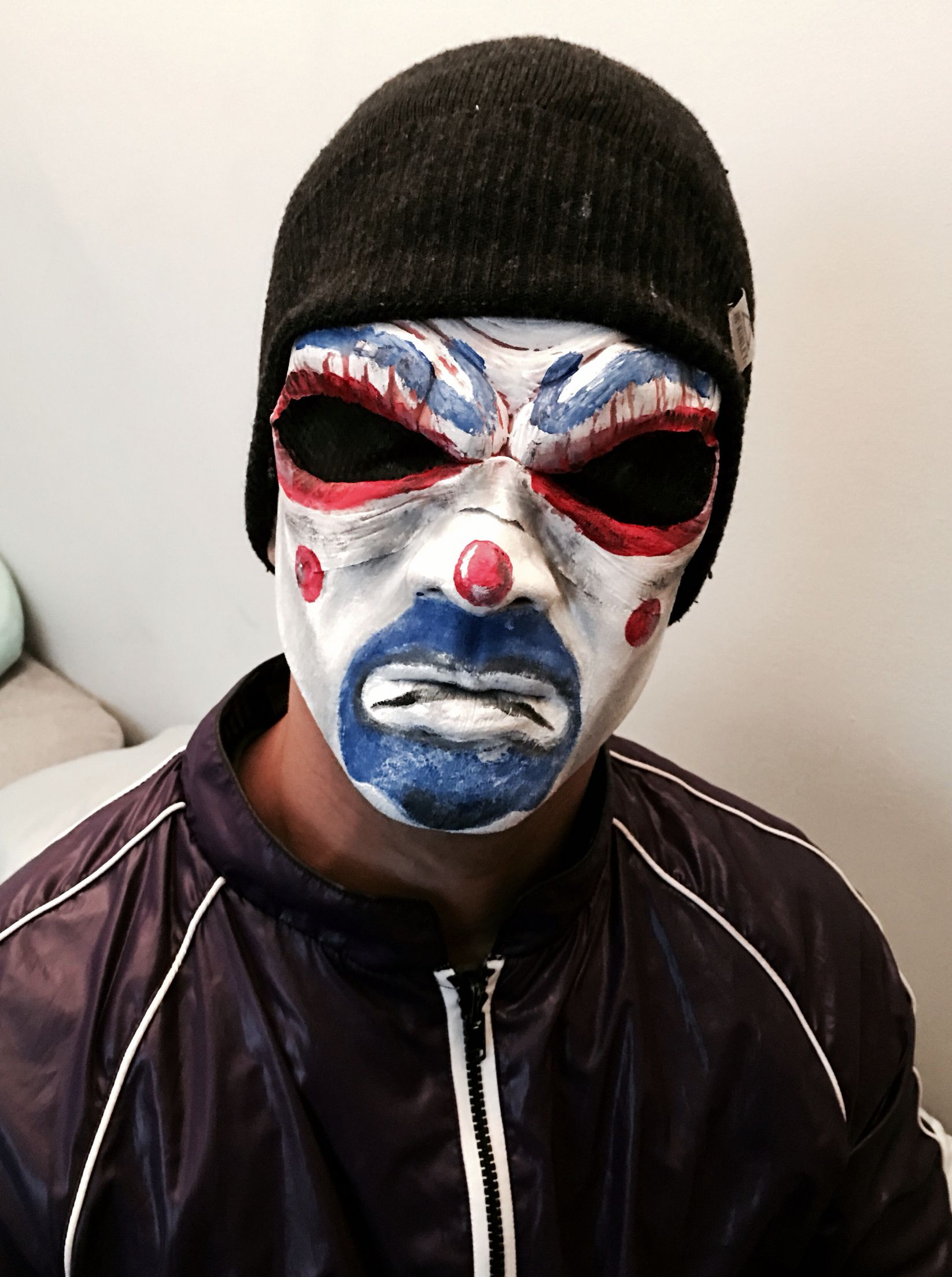 Painted my mans face as the bank robber joker this year for ...